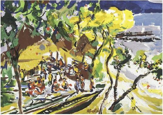 11. POLINÈSIA_platja de Bali Hai, cartó entelat guaix, 1995